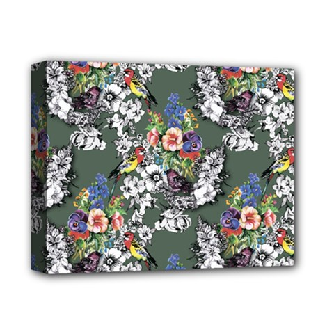 Vintage flowers and birds pattern Deluxe Canvas 14  x 11  (Stretched)