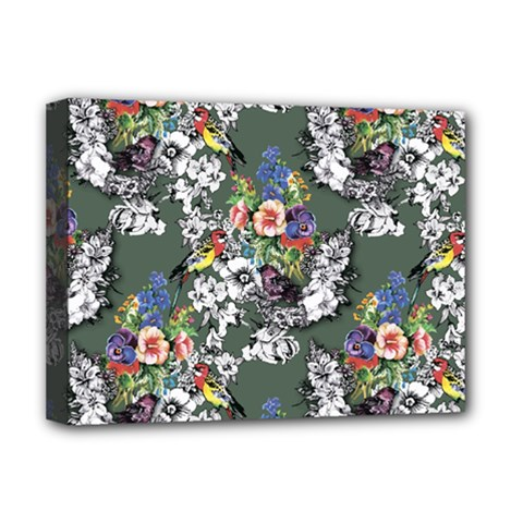 Vintage flowers and birds pattern Deluxe Canvas 16  x 12  (Stretched)