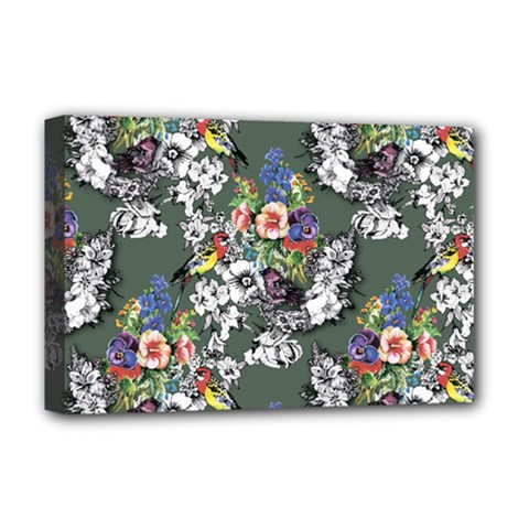 Vintage flowers and birds pattern Deluxe Canvas 18  x 12  (Stretched)