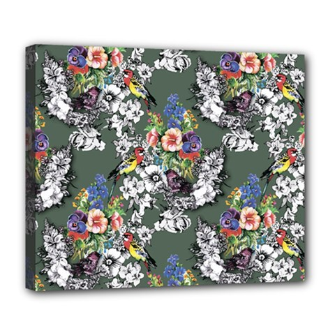 Vintage flowers and birds pattern Deluxe Canvas 24  x 20  (Stretched)