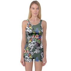 Vintage flowers and birds pattern One Piece Boyleg Swimsuit