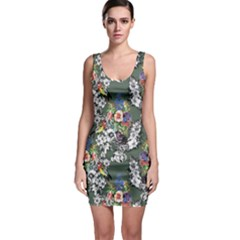 Vintage flowers and birds pattern Bodycon Dress