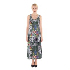 Vintage flowers and birds pattern Sleeveless Maxi Dress