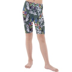Vintage flowers and birds pattern Kids  Mid Length Swim Shorts