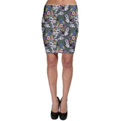 Vintage flowers and birds pattern Bodycon Skirt