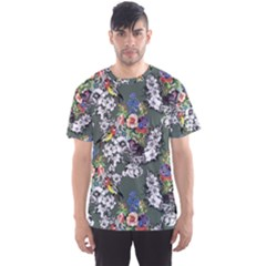 Vintage flowers and birds pattern Men s Sports Mesh Tee