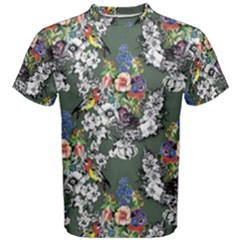 Vintage flowers and birds pattern Men s Cotton Tee