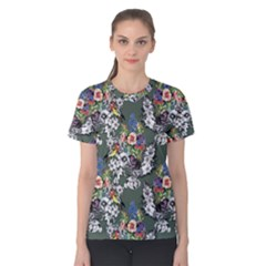 Vintage flowers and birds pattern Women s Cotton Tee