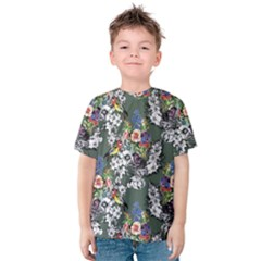 Vintage flowers and birds pattern Kids  Cotton Tee