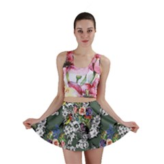Vintage flowers and birds pattern Mini Skirt