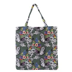 Vintage flowers and birds pattern Grocery Tote Bag