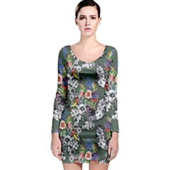 Vintage flowers and birds pattern Long Sleeve Bodycon Dress