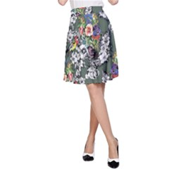 Vintage flowers and birds pattern A-Line Skirt