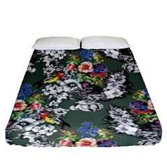 Vintage flowers and birds pattern Fitted Sheet (Queen Size)