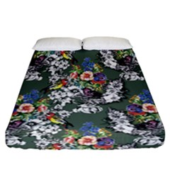 Vintage flowers and birds pattern Fitted Sheet (California King Size)