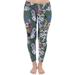 Vintage flowers and birds pattern Classic Winter Leggings