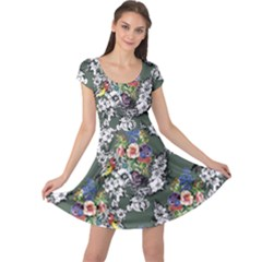 Vintage flowers and birds pattern Cap Sleeve Dress