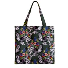 Vintage flowers and birds pattern Zipper Grocery Tote Bag