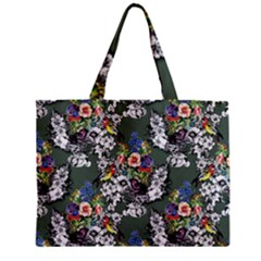 Vintage flowers and birds pattern Zipper Mini Tote Bag