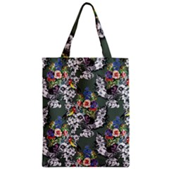 Vintage flowers and birds pattern Zipper Classic Tote Bag