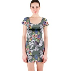 Vintage flowers and birds pattern Short Sleeve Bodycon Dress