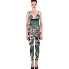 Vintage flowers and birds pattern One Piece Catsuit