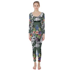 Vintage flowers and birds pattern Long Sleeve Catsuit