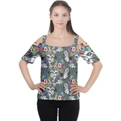 Vintage flowers and birds pattern Cutout Shoulder Tee