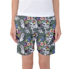 Vintage flowers and birds pattern Women s Basketball Shorts