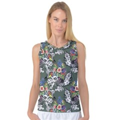 Vintage flowers and birds pattern Women s Basketball Tank Top