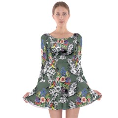 Vintage flowers and birds pattern Long Sleeve Skater Dress