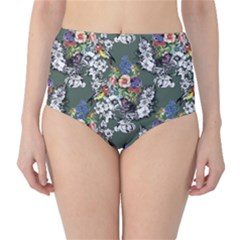 Vintage flowers and birds pattern Classic High-Waist Bikini Bottoms