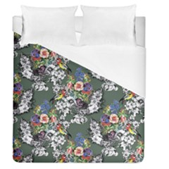 Vintage flowers and birds pattern Duvet Cover (Queen Size)