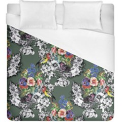 Vintage flowers and birds pattern Duvet Cover (King Size)