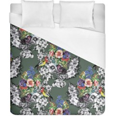 Vintage flowers and birds pattern Duvet Cover (California King Size)
