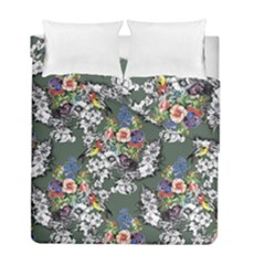 Vintage flowers and birds pattern Duvet Cover Double Side (Full/ Double Size)