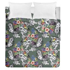 Vintage flowers and birds pattern Duvet Cover Double Side (Queen Size)