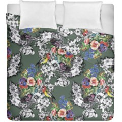 Vintage flowers and birds pattern Duvet Cover Double Side (King Size)