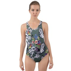Vintage flowers and birds pattern Cut-Out Back One Piece Swimsuit