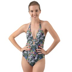 Vintage flowers and birds pattern Halter Cut-Out One Piece Swimsuit