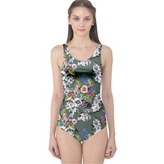 Vintage flowers and birds pattern One Piece Swimsuit