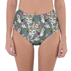 Vintage flowers and birds pattern Reversible High-Waist Bikini Bottoms