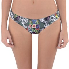 Vintage flowers and birds pattern Reversible Hipster Bikini Bottoms