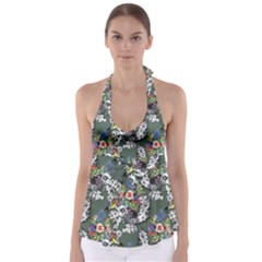 Vintage flowers and birds pattern Babydoll Tankini Top
