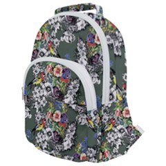 Vintage flowers and birds pattern Rounded Multi Pocket Backpack