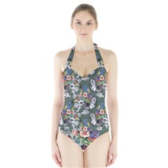 Vintage flowers and birds pattern Halter Swimsuit