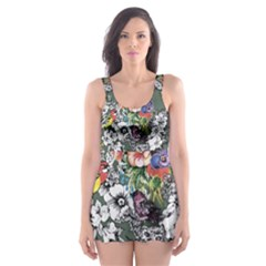 Vintage flowers and birds pattern Skater Dress Swimsuit