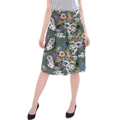 Vintage flowers and birds pattern Midi Beach Skirt