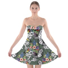 Vintage flowers and birds pattern Strapless Bra Top Dress