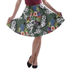 Vintage flowers and birds pattern A-line Skater Skirt